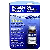Tratamiento de purificación de agua Aqua potable: tratamiento de agua potable portátil para acampar, preparación para emergencias, huracanes, tormentas, supervivencia y viajes (50 tabletas)