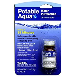 Potable Aqua 3032 Water Purification Iodine Tablets 2 Bottles with 50 Each (Twin Pack)