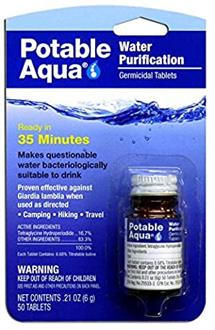 Potable Aqua Water Purification Germicidal Tablets - For Hiking, Camping, and Emergency Drinking (Military Water Purification)