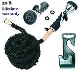 Vela 50ft Flexible Garden Hose – Expandable Heavy Duty Flex Water Hose + Hose Holder & Hose Nozzle w/ 9 Spray Settings – BEST As Seen on TV Kink-Free Garden Hose for Car Washing & Pressure Washing