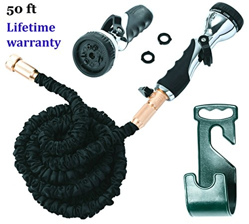 Vela 50ft Flexible Garden Hose – Expandable Heavy Duty Flex Water Hose + Hose Holder & Hose Nozzle w/ 9 Spray Settings – BEST As Seen on TV Kink-Free Garden Hose for Car Washing & Pressure Washing