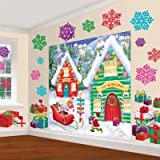 Amscan Winter Wonderland Christmas Party North Pole Mega \Value Scene Setters Wall Decorating Kit (pack of 32), Multicolor, One Size