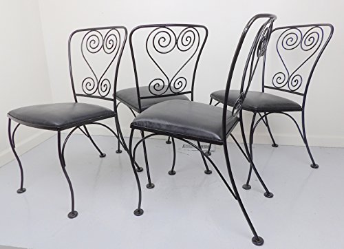 Wire Dining Chairs Wrought Iron Metal Set Of 4 Patio Patiosme Patiosme