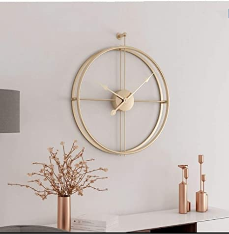 Amazon Com Univer Co Modern 3d Wall Clocks Battery Operated Decorative 20 X24 Round Iron Metal Clock For Living Room Bedroom Office Golden Home Kitchen