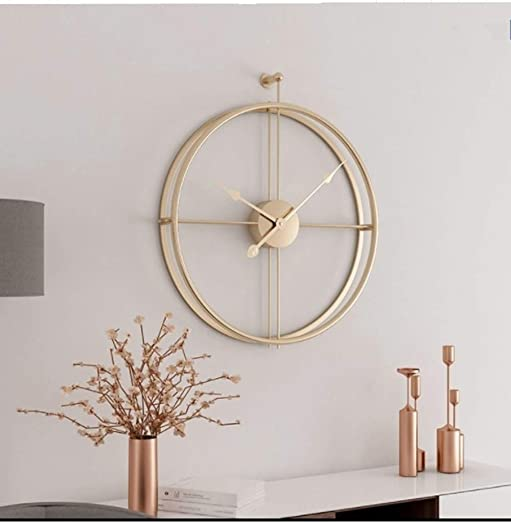 Univer-Co Modern 3D Wall Clocks Battery Operated Decorative 20 x24 Round Iron Metal Clock for Living Room, Bedroom, Office Golden