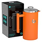 Large French Press Coffee Maker – Vacuum Insulated Stainless Steel, Orange, 34 Ounce