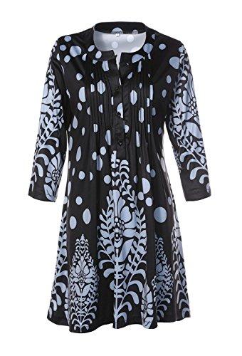 avec Bouton Blouse Manches Fashion Kilt Noir2 Femme Tunique Fashion Tops Jeune Long Imprim Simple T Chemisiers Rond Hauts Col 3 4 Casual Shirt HdRTwqB0WP