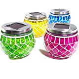 SuperLED 4-MOSAIC Solar Garden Mosaic Jar Lights (Pack of 4) - Multi-Col