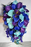 Peacock Purple Blue Turquoise Calla Lily Cascading Bridal Wedding Bouquet & Boutonniere