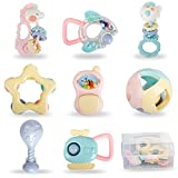8Pcs Baby Rattles Teethers Set Shaking Bells with Storage Box for Infants Babies Newborn Boys Girls