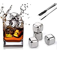 Dailychic Stainless Steel Reusable Ice Cubes Chilling Stones with Tongs and Freezer Tray for Whiskey Wine (Pack of 4), Whiskey Stones Gift Set
