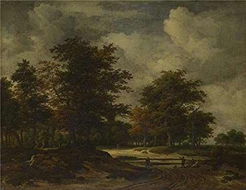 Oil Painting 'Jacob Van Ruisdael A Road Leading Into A Wood ' Printing On Perfect Effect Canvas , 16 X 21 Inch / 41 X 52 Cm ,the Best Hallway Artwork And Home Artwork And Gifts Is This Best Price Art Decorative Canvas (How Much Does Windows 7 Cost)