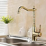 LDONGSH Copper Kitchen Gold Hot And Cold Single Hole Rotation Retro Vegetable Bowl Sink Faucet Tap