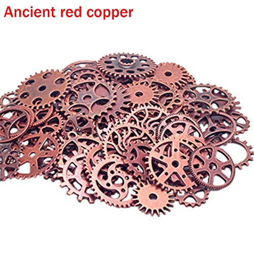 50g Vintage Cogs Gears Watch Parts Steampunk Cyberpunk Altered Art Crafts DIY Jewelry Findings Making Crafts Art Charms (Ancient red Copper) ()