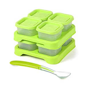 Matyz Baby Food Freezer & Storage Containers with Clip-On Lid (2oz each, Set of 8) - Stackable Tray Save Space - Bonus Spoon - Easily Portion, Store, Freeze, Carry, Heat & Serve the Homemade Baby Food