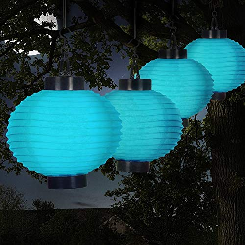 MISC Set of 4 - Blue Solar Floating Lanterns Outdoor Chinese Lights Decorative Hanging Party Lighting Patio Backyard Garden Rechargeable from Sun, Nylon LED