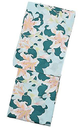 飼料苦病院[ KIMONOMACHI ] 京都きもの町オリジナル 浴衣単品「グリーン 百合」S、フリー レトロ 女性浴衣 花火大会、夏祭り、夏フェスに