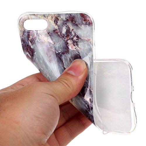 Custodia per iPhone 8 (2017) et iPhone 7 (2016) ,JIENI Protezione TPU Marmo naturale naturale di alta qualità grigio bianco Morbido Bumper Cover Silicone Case per iPhone 8 (2017) et iPhone 7 (2016)