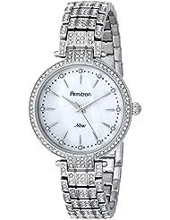 Armitron Womens 75/5252MPSV Swarovski Crystal-Accented Silver-Tone Bracelet Watch
