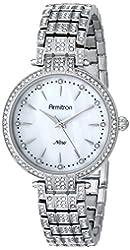 Armitron Women's 75/5252MPSV Swarovski Crystal-Accented Silver-Tone Bracelet Watch