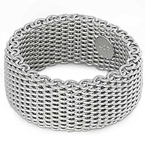 "10MM (3/8in) ""EXTRA WIDE"" Designer Style Inspired Italian .925 Sterling Silver WOVEN Flexible Somerset Mesh Screen Ring (5-10) (.925 Italian Sterling Silver, 9)"