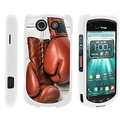 TurtleArmor | Compatible with Kyocera Brigadier Case | E6782 [Slim Duo] Compact Fit Hard Snap On Case Slim Cover Sports and Games on White - Boxing Gloves (Best Boxing Game On Android)