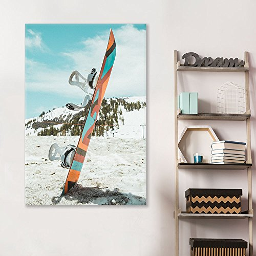 Sports Theme Skiing Board Stuck in Snow