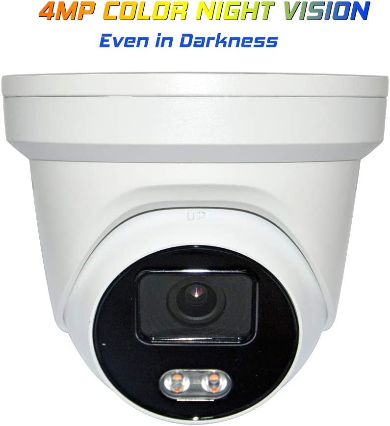 4MP Color Night Vision Outdoor PoE IP Camera OEM DS-2CD2347G1-LU 4mm Fixed Lens, Turret Network Security Camera with Audio, Built-in Mic, Smart H.265+ WDR VCA, SD Card Slot (HS-VUT04G1-IA)