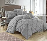 Chic Home 10 Piece Hannah Pinch Pleated, ruffled and pleated complete Queen Bed In a Bag Comforter Set Silver With sheet set