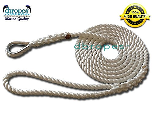 3 Strand Mooring Pendant Premium 100% Nylon Rope 1/2' X 5' with Thimble (Tensile Strength 6400 Lbs.). Made in USA