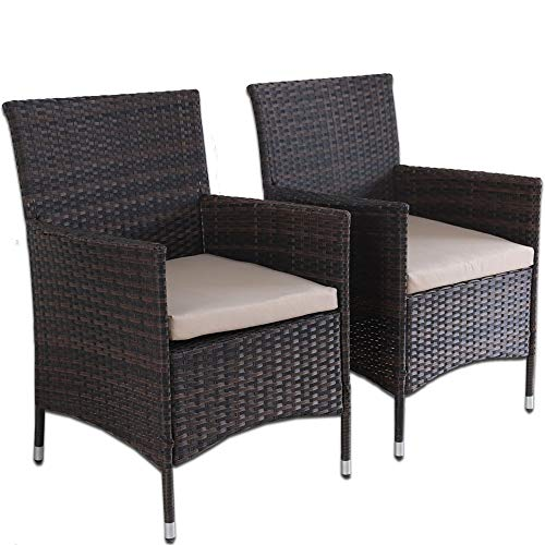 Leaptime Outdoor Indoor Dining Chairs Match Dining Tables Patio Rattan Chair Wicker Garden Chairs Set of 2 (Mixed Brown)