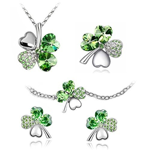 BodyJ4You The Four Leaf Jewelry set 5 Pieces Classic Green - Necklace, Earrings, Bracelet and - Bracelet Earrings Pin