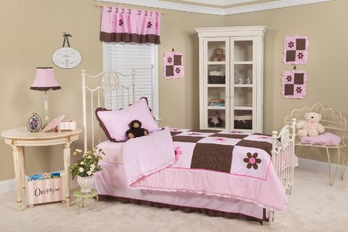 Pam Grace Creations Pam's Petals Twin Bedding Set, Pink, Brown, (White Pink Petal)