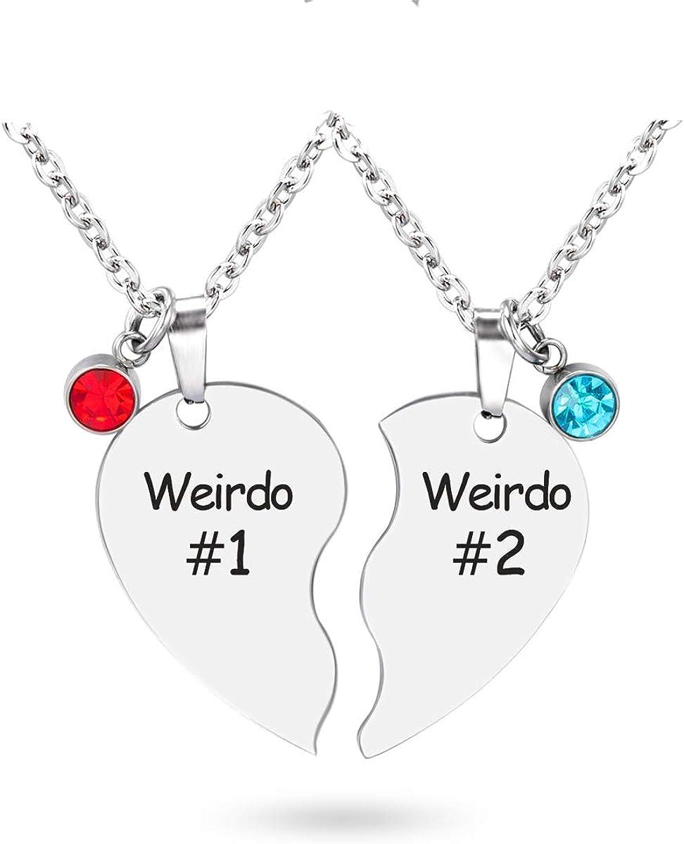Glimkis Bestie Necklace for 2 Best Friends Forever Necklace BFF Necklace Broken Heart Necklace Couples Jewelry