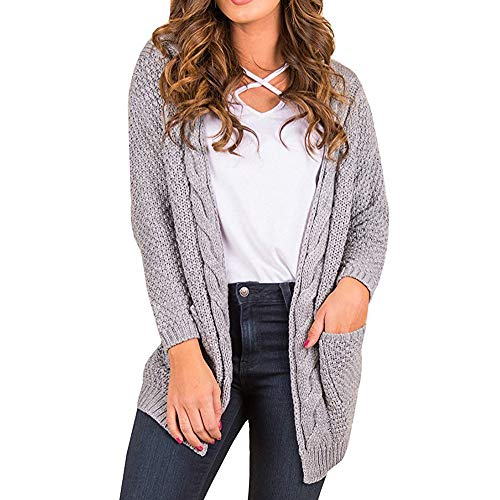 Manteau Longues manches Pulls Femme Cardigan Tricot Gris Ouverte Bringbring Maille Tops xAw4FwPq