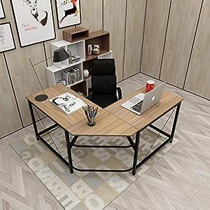 soges L-Shaped Desk Computer Desk Large Corner Desk L(150+150) * W55 * H76 cm Office Table Computer Workstation for Home and Office, LD-Z01-OK