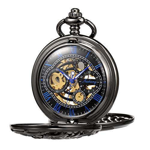 TREEWETO Antique Mechanical Pocket Watch Lucky Dragon Hollow Case Double Hunter Skeleton Dial with Chain + Gift -