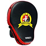 Cheerwing PU Leather MMA Boxing Mitt Punching Mitt Target Focus Punch Pad Training Glove For Karate Muay Thai Kick (Red)