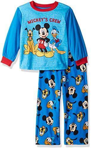 Disney Boys' Toddler Mickey Mouse 2-Piece Fleece Pajama Set, Crew Blues 4T