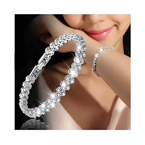 Shoopic Cubic Zircon Tennis Bracelet Crystal Hand Chain for Women (white2)