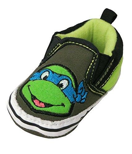 Teenage Mutant Ninja Turtles Leonardo Blue Infant Slip-On Sneakers- Size 9-12 Months [3013] (Ninja Turtle Blue)