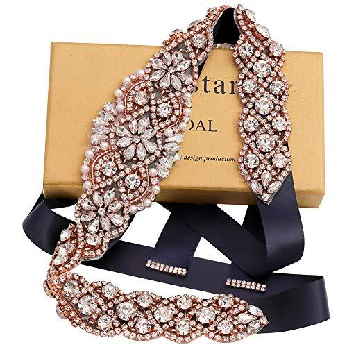 Yanstar Handmade Rose Gold Rhinestone Crystal Wedding Bridal Belt Sash with Navy Blue Ribbon For Wedding Dress