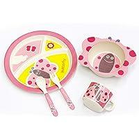 Beauenty Children's Round Cartoon Plate Bamboo Fiber Baby Big Bowl Tableware Five Cartoon Pattern Gifts (Butterfly)