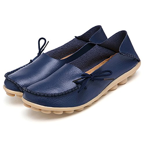 Blue Leather Boat (Adibosy Women Slip On Flats Drivers Leather Casual Comfort Shoes Boat Loafers Footwear Dark Blue 10)