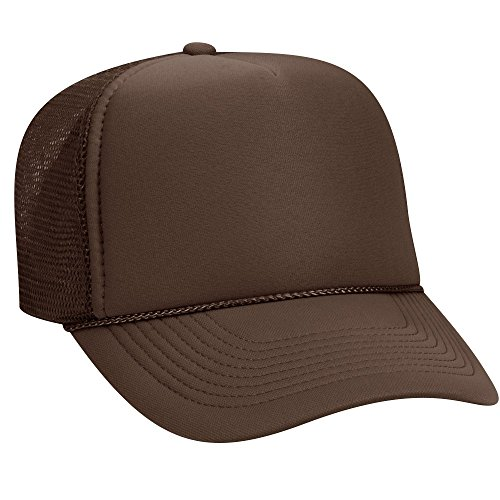 OTTO Polyester Foam Front 5 Panel Pro Style Mesh Back Trucker Hat - Brown ()
