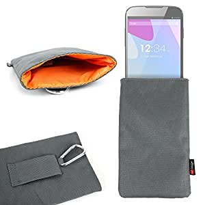 DURAGADGET Large, Hard-Wearing Nylon Carry Case / Pouch in Dark Grey for NEW BLU Studio 6.0 LTE / BLU Vivo Air / BLU Life One XL / BLU Studio X Plus - With Strong Carabiner Clip
