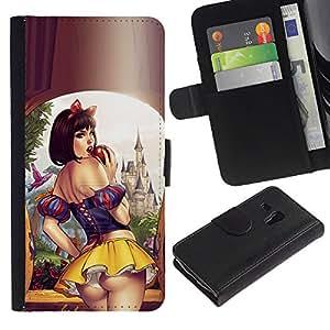 Paccase / Billetera de Cuero Caso del tirón Titular de la tarjeta Carcasa Funda para - sexy short skirt lips sensual woman girl - Samsung Galaxy S3 MINI NOT REGULAR! I8190 I8190N