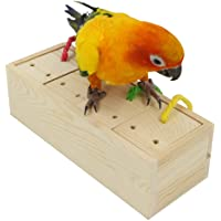 YINGGE Wooden Bird Foraging Feeder Toys, Intelligence Toys for Medium and Large Parrots Sun Conures, Caique, Cockatoo…