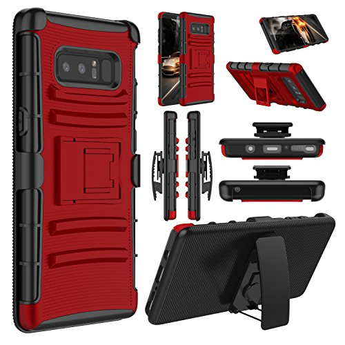 Galaxy Note 8 Case, Elegant Choise Hybrid Heavy Duty Dual Layer Shockproof [Swivel Belt Clip] Holster with [Kickstand] Combo Rugged Defender Case Cover for Samsung Galaxy Note 8 (Red/Black)