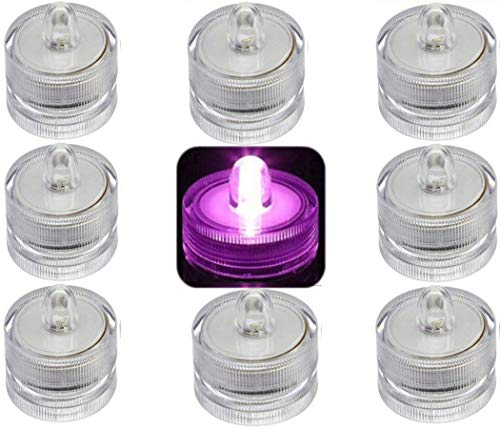 Bright Led Underwater Submersible Waterproof Floral Decoration Tea Light Candle for Wedding/party/ Xmas Decoration ( 10 pack Purple circle-shaped )